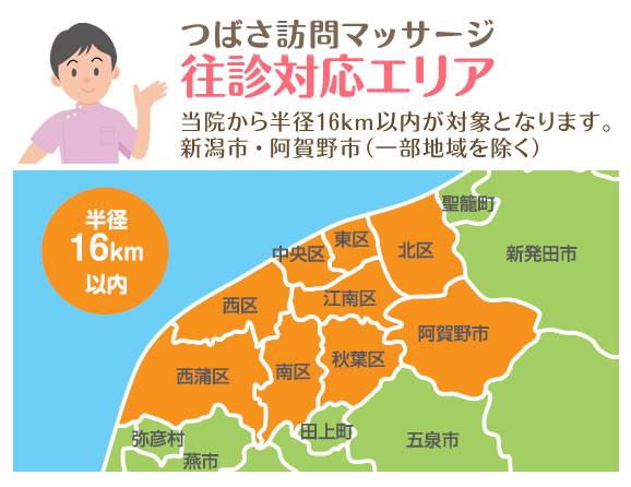 新潟市つばさ整骨院・整体院の訪問マッサージ往診対応エリア
