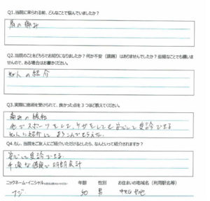 新潟市中央区女池 50代 男性 肩関節痛 フジ様